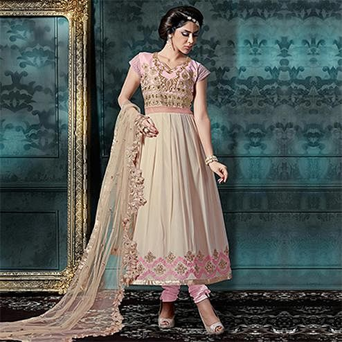 Cream - Pink Anarkali Salwar Suit