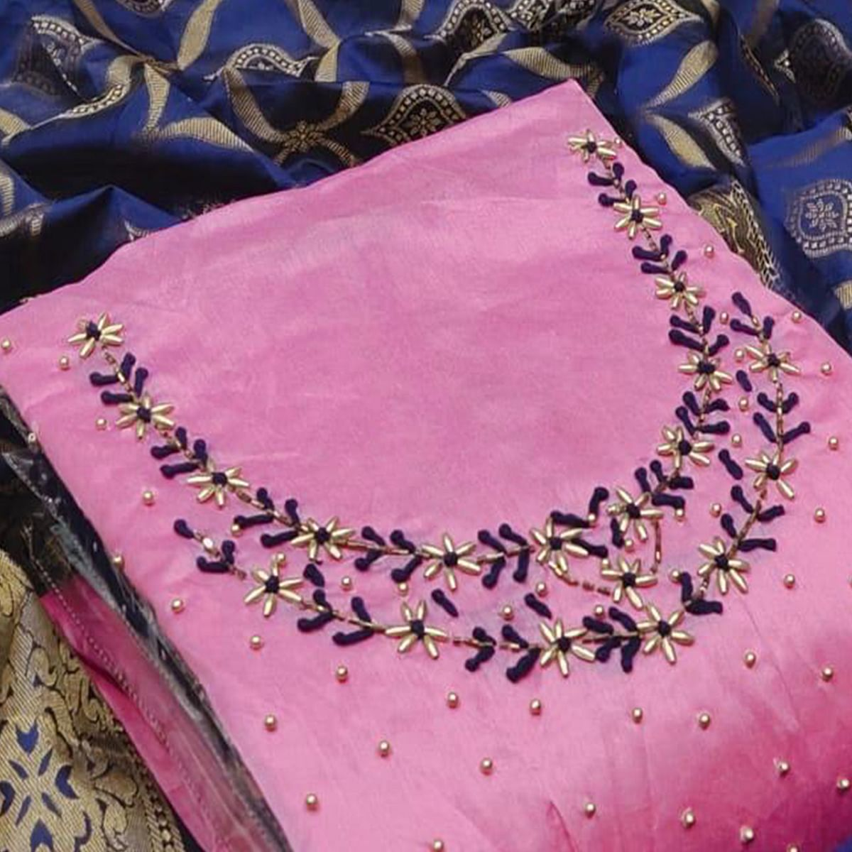 Magnetic Pink Colored Partywear Embroidered Chanderi Silk Dress Material With Banarasi Dupatta