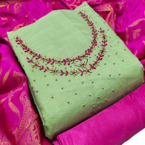 Hypnotic Green Colored Partywear Embroidered Chanderi Silk Dress Material With Banarasi Dupatta