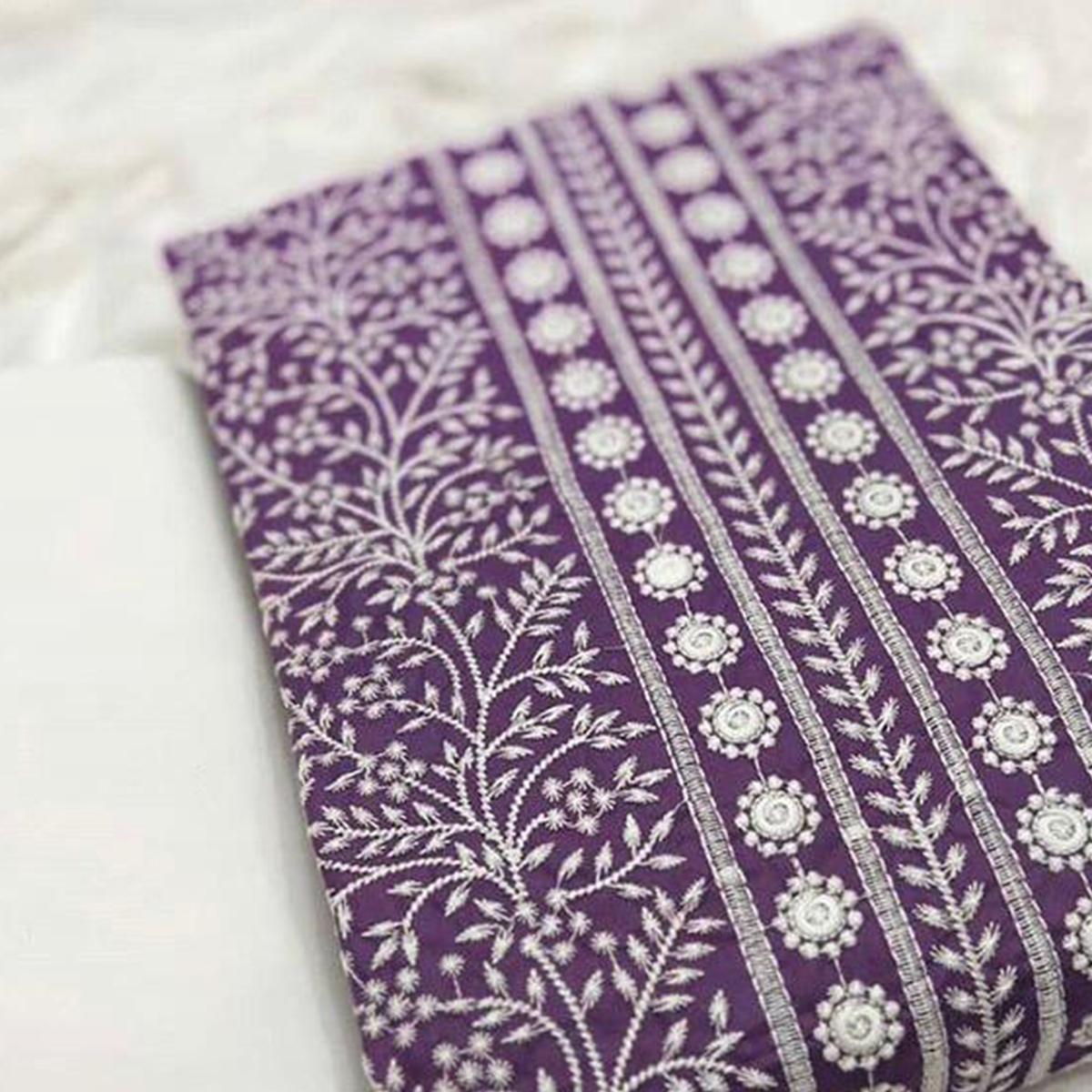 Adorable Purple Colored Party Wear Embroidered Cotton Dress Material