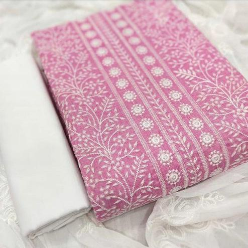 Attractive Pink Colored Party Wear Embroidered Cotton Dress Material