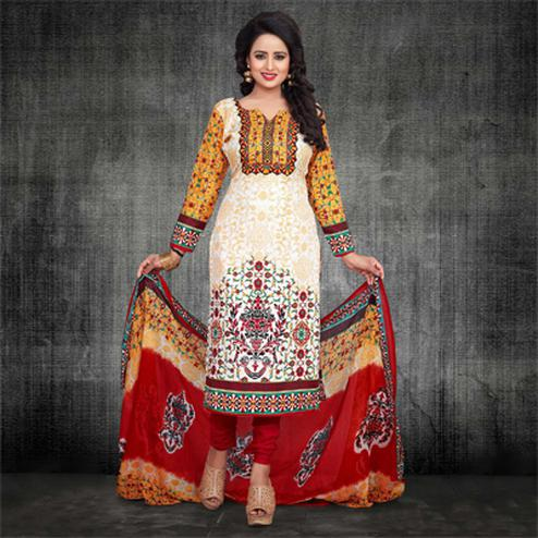 Multi Color Chanderi Dress Material
