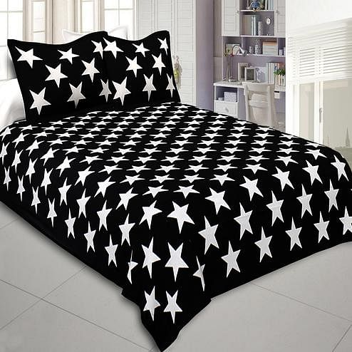 Engrossing Black Colored Shining Stars Cotton Double Bedsheet With Pillow Cover
