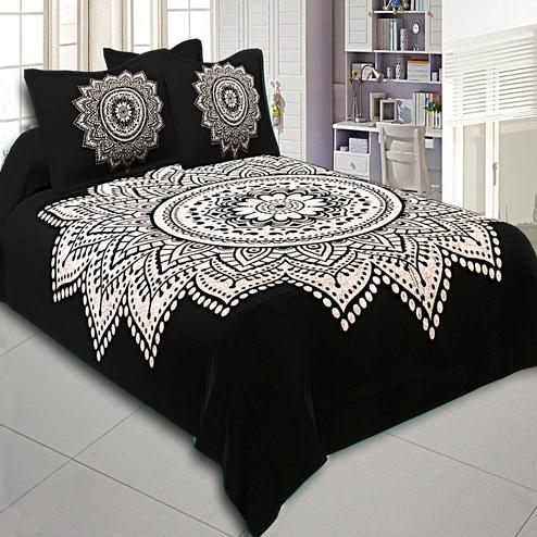 Innovative Black-White Big Rangoli Print Cotton Double Bedsheet With Pillow Cover