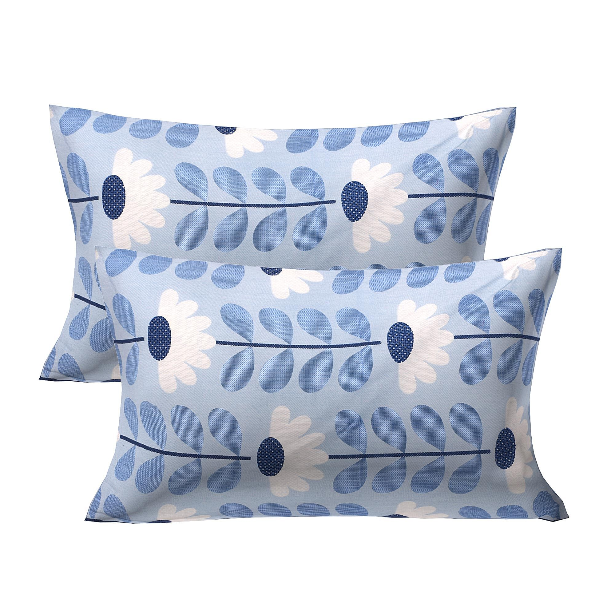 Amazing Serene Sky Blue Colored Printed Cotton Double Bedsheet With Pillow Cover