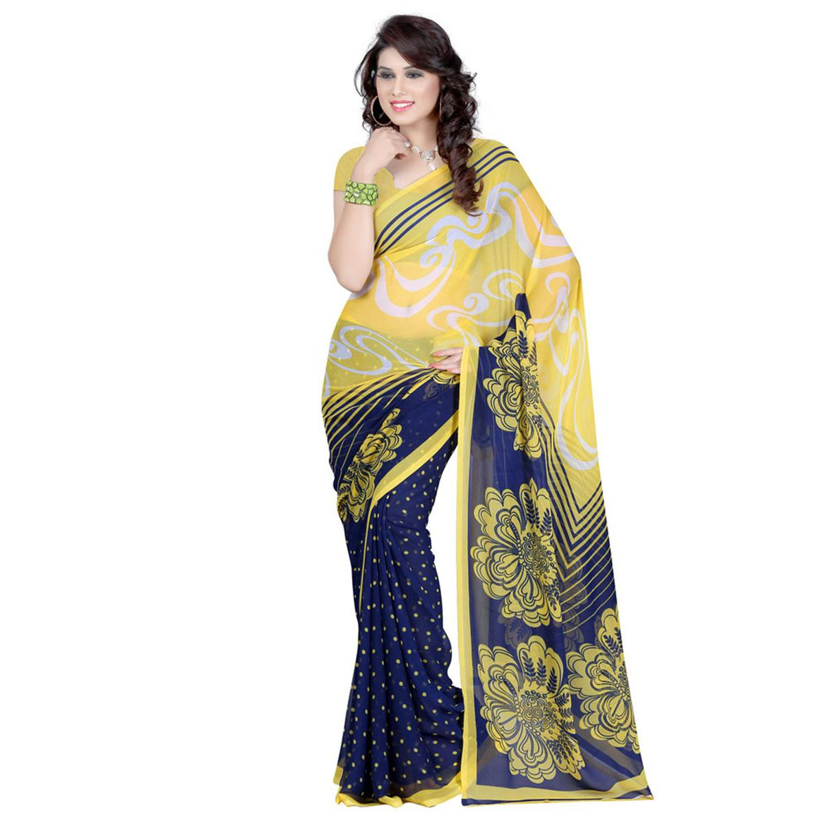 Yellow - Blue Casual Wear Saree