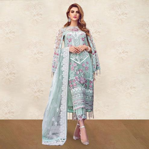 Preferable Light Mint Green Colored Partywear Embroidered Netted Suit
