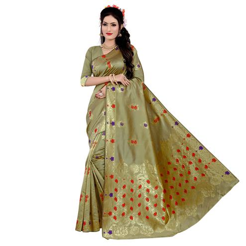 Classy Light Olive Green Colored Festive Wear Woven Work Banarasi Silk Saree