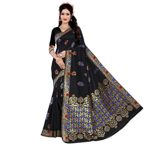 Prominent Black Colored Festive Wear Woven Work Banarasi Silk Saree