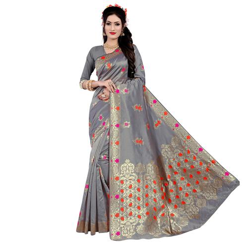 Appealing Grey Colored Festive Wear Woven Work Banarasi Silk Saree