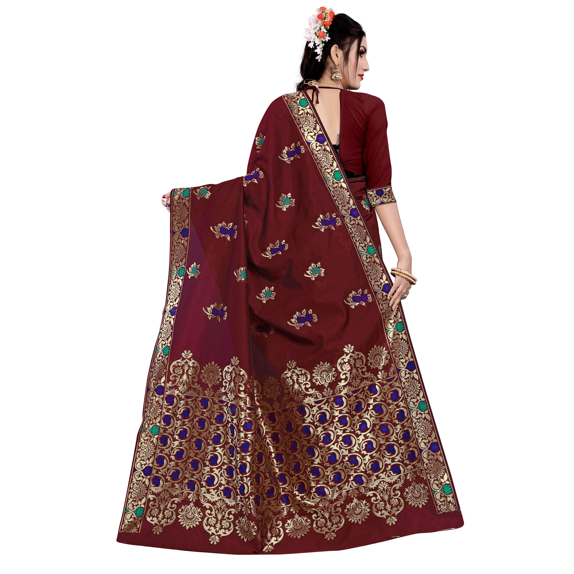 Entrancing Maroon Colored Festive Wear Woven Work Banarasi Silk Saree
