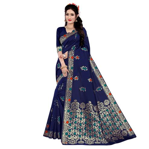Groovy Navy Blue Colored Festive Wear Woven Work Banarasi Silk Saree
