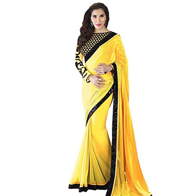 Yellow Lace Work Georgette Saree