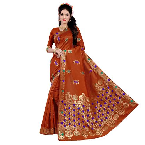 Adorning Rust Orange Colored Festive Wear Woven Work Banarasi Silk Saree