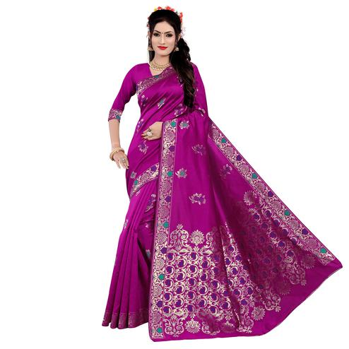 Exclusive Rani Pink Colored Festive Wear Woven Work Banarasi Silk Saree
