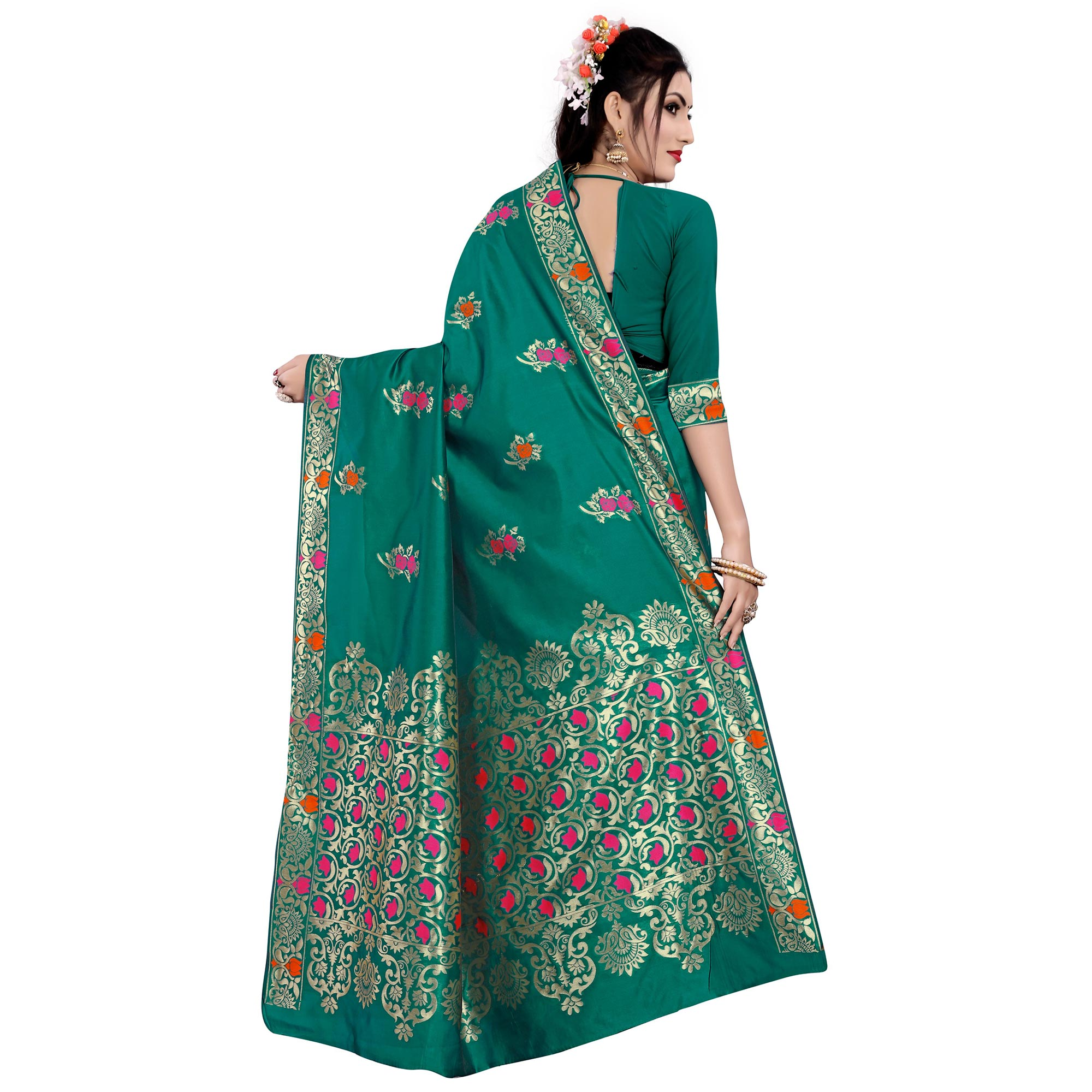 Desirable Turquoise Green Colored Festive Wear Woven Work Banarasi Silk Saree