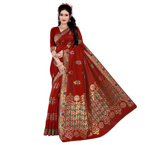 Exotic Red Colored Festive Wear Woven Work Banarasi Silk Saree