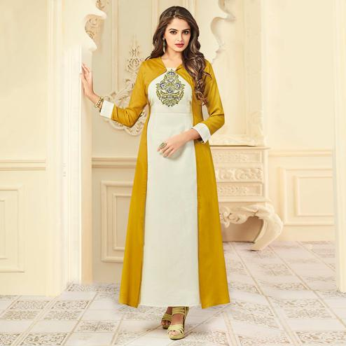 Intricate White-Mustard Yellow Colored Party Wear Floral Embroidered Rayon Kurti