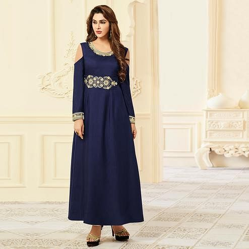 Prominent Navy Blue Colored Party Wear Floral Embroidered Rayon Kurti