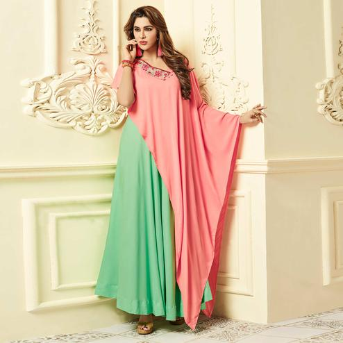 Appealing Green-Pink Colored Party Wear Floral Embroidered Rayon Kurti