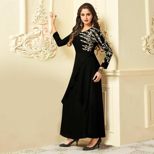 Capricious Black Colored Party Wear Floral Embroidered Rayon Kurti