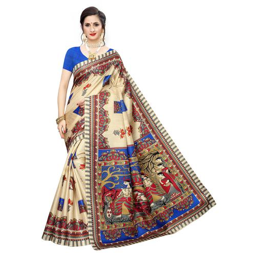 Intricate Beige-Blue Colored Casual Wear Printed Cotton Silk Saree