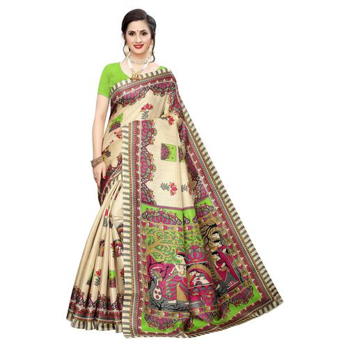 Arresting Beige-Green Colored Casual Wear Printed Cotton Silk Saree