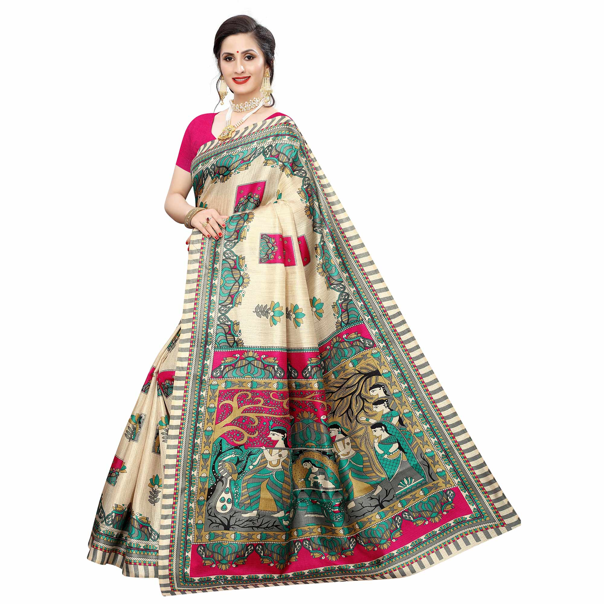Desirable Beige-Pink Colored Casual Wear Printed Cotton Silk Saree