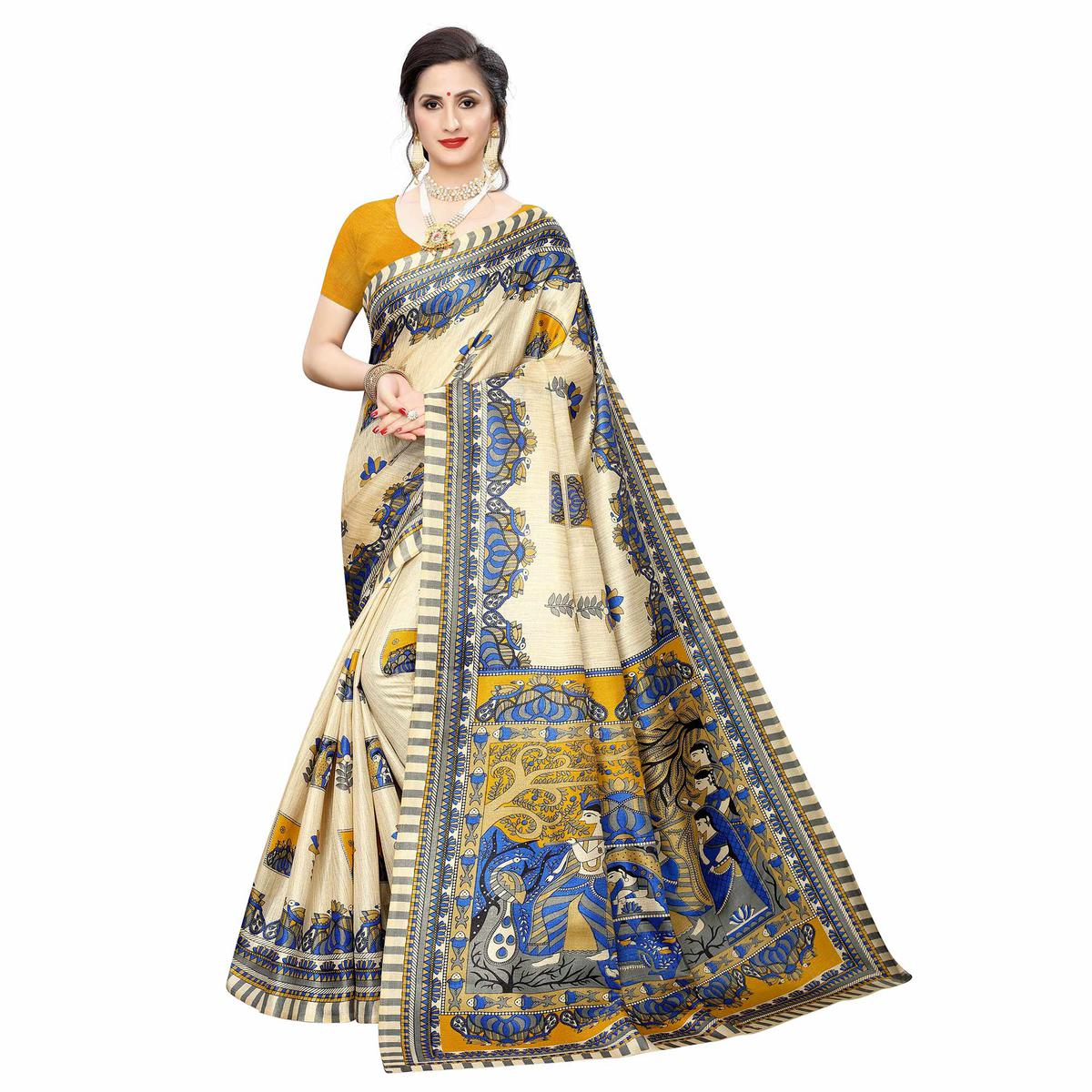 Exotic Beige-Yellow Colored Casual Wear Printed Cotton Silk Saree
