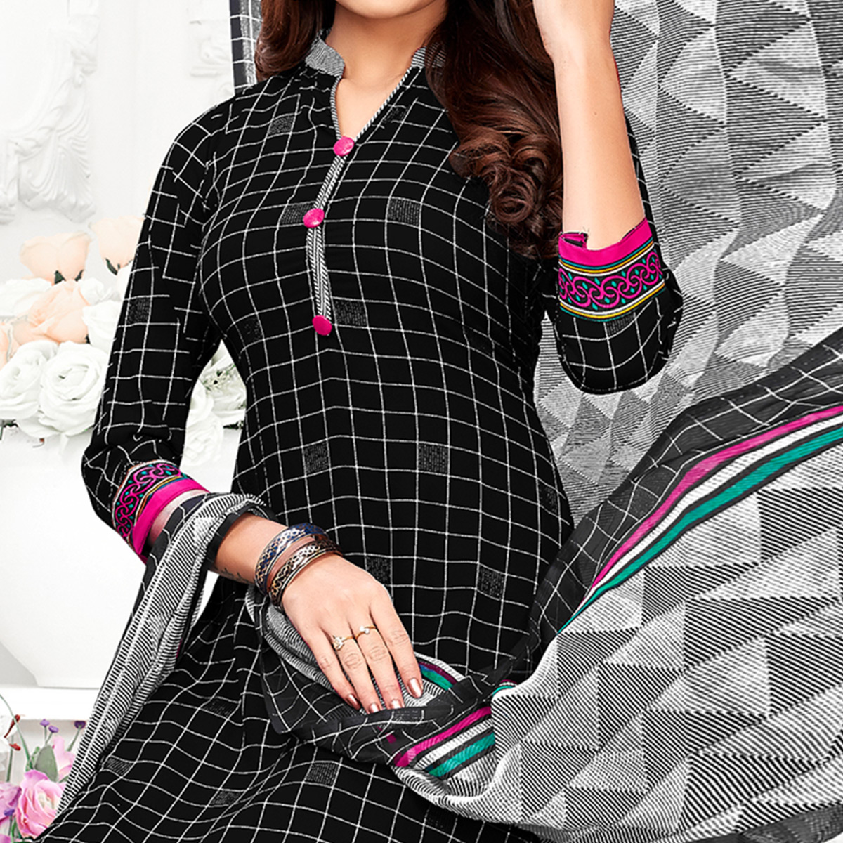 Classy Black Colored Casual Wear Printed Crepe Patiala Suit