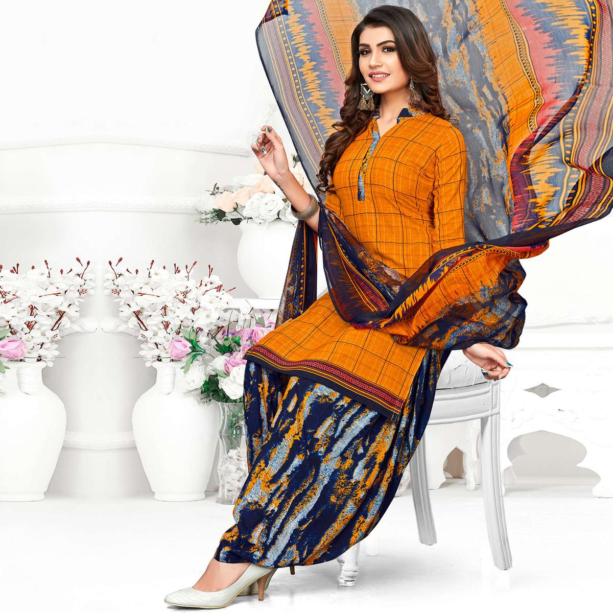 Prominent Yellow Colored Casual Wear Printed Crepe Patiala Suit