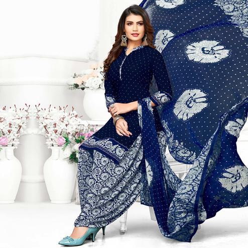 Appealing Navy Blue Colored Casual Wear Printed Crepe Patiala Suit