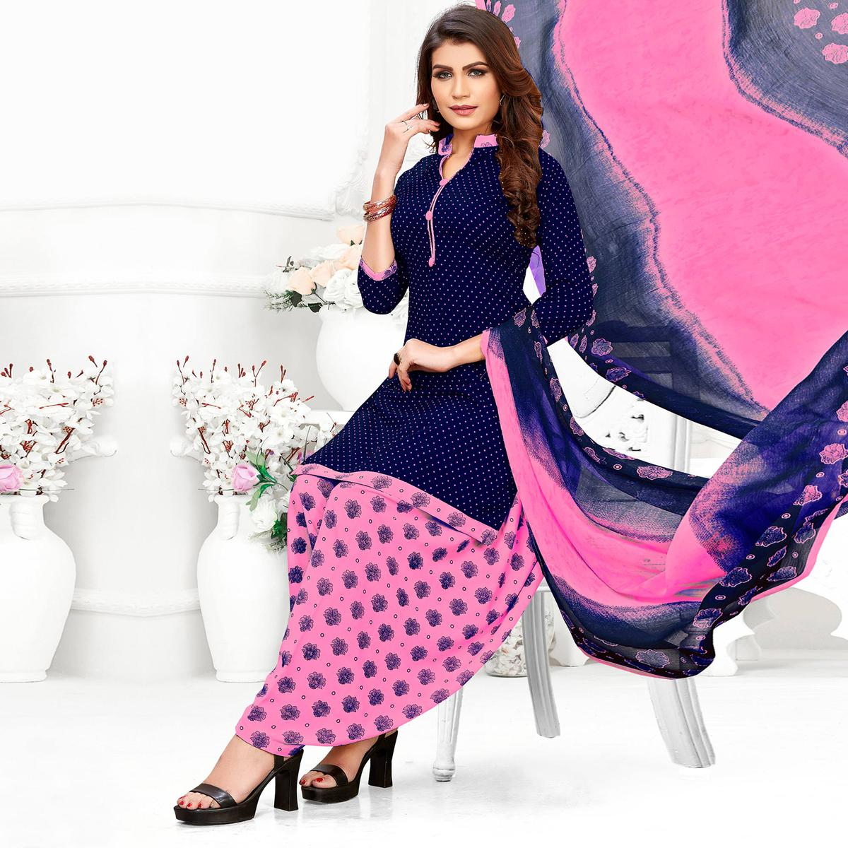 Capricious Blue Colored Casual Wear Printed Crepe Patiala Suit