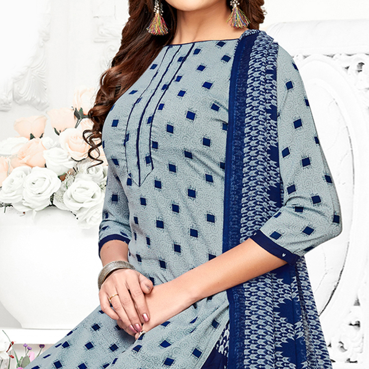 Entrancing Grey Colored Casual Wear Printed Crepe Patiala Suit