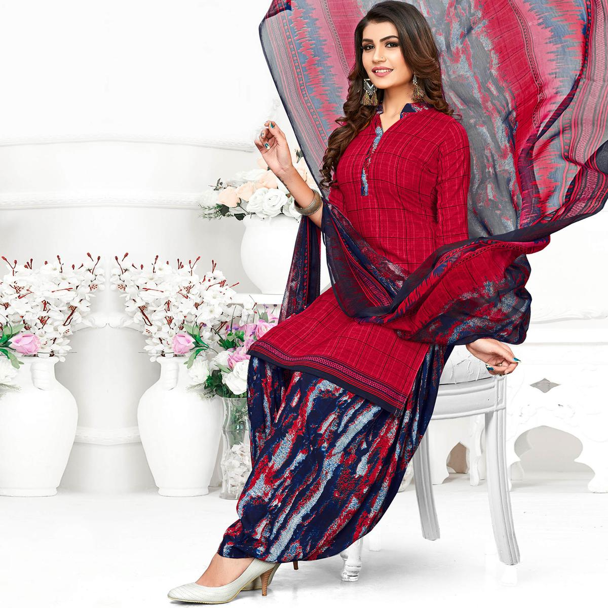 Groovy Red Colored Casual Wear Printed Crepe Patiala Suit