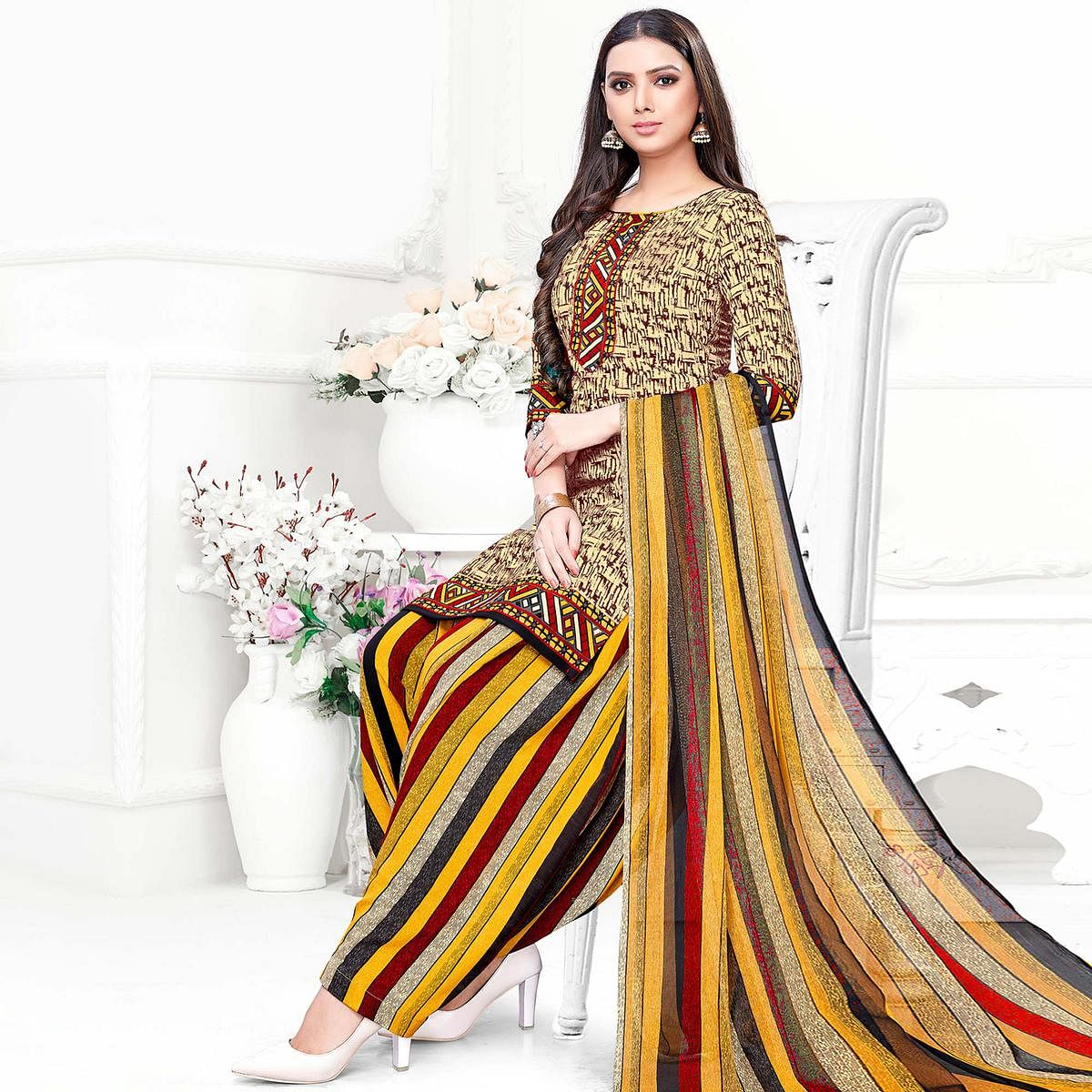 Prominent Beige Colored Casual Wear Printed Crepe Patiala Suit