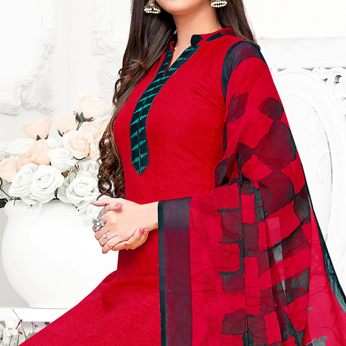 Classy Red Colored Casual Wear Printed Crepe Patiala Suit