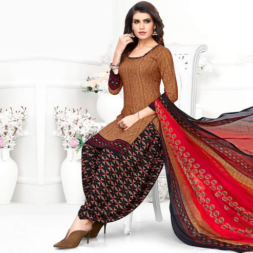 Entrancing Brown Colored Casual Wear Printed Crepe Patiala Suit