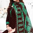 Adorable Dark Brown Colored Casual Wear Printed Crepe Patiala Suit