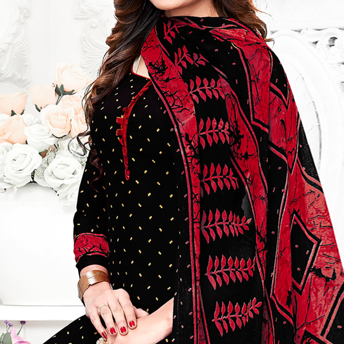 Glorious Black Colored Casual Wear Printed Crepe Patiala Suit