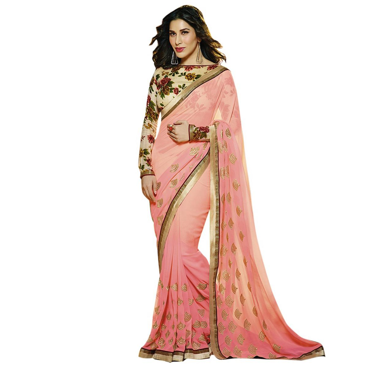 Pink - Beige Party Wear Saree