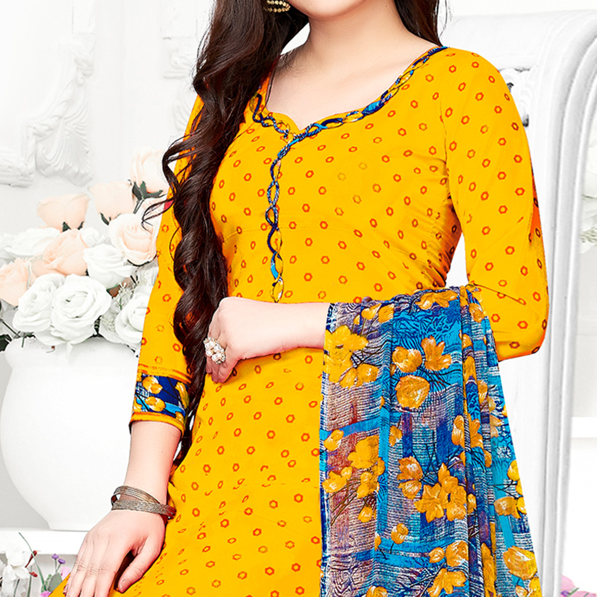 Attractive Yellow Colored Casual Wear Printed Crepe Patiala Suit