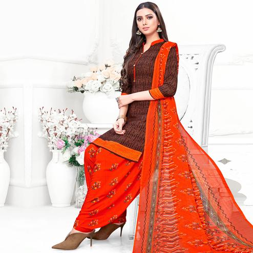Graceful Brown Colored Casual Wear Printed Crepe Patiala Suit