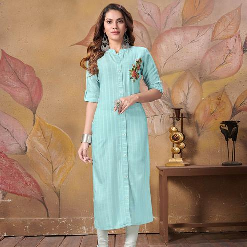 Pretty Light Blue Colored Partywear Floral Embroidered Cotton Kurti