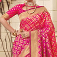 Sophisticated Fuschia Pink Colored Festive Wear Woven Silk Saree