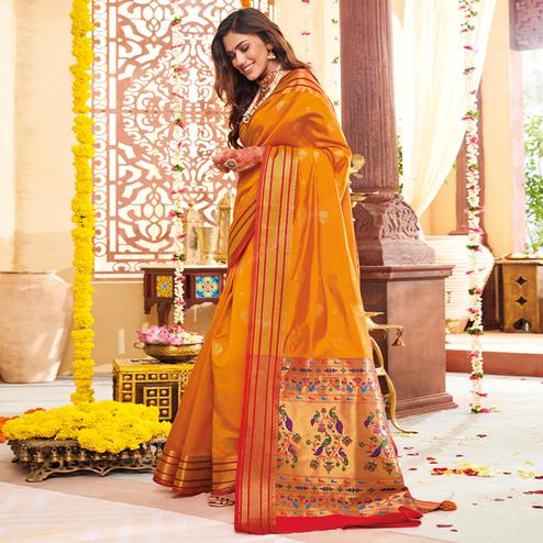 Energetic Orange Colored Festive Wear Woven Silk Saree