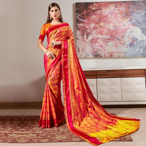 Engrossing Yellow-Pink Colored Festive Wear Woven Silk Saree