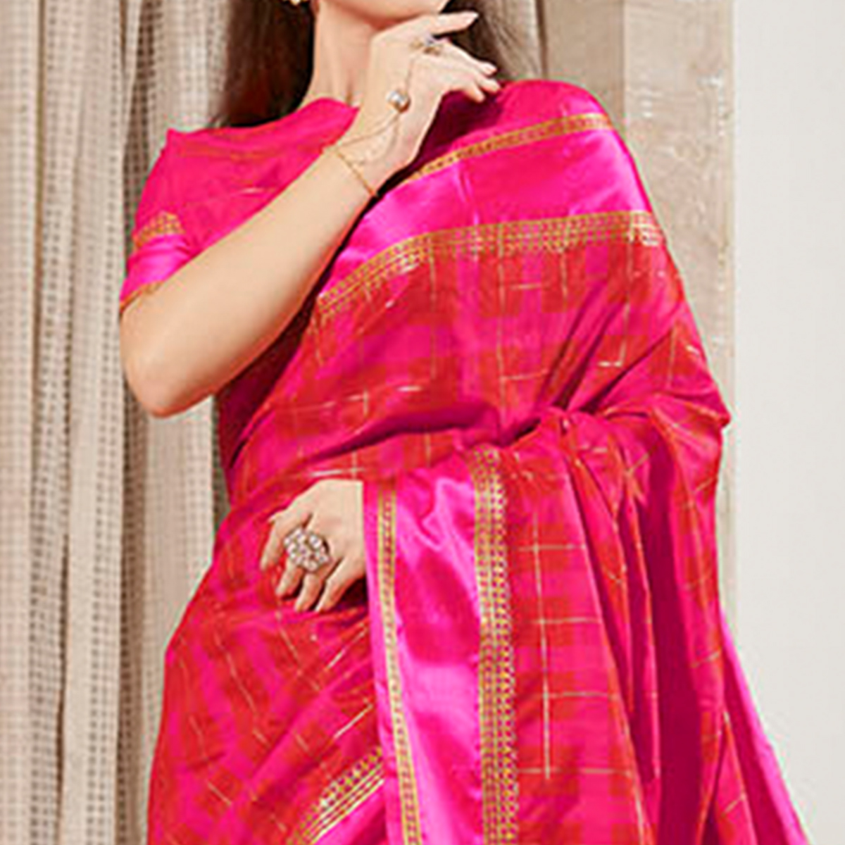 Captivating Dark Pink Colored Festive Wear Woven Silk Saree