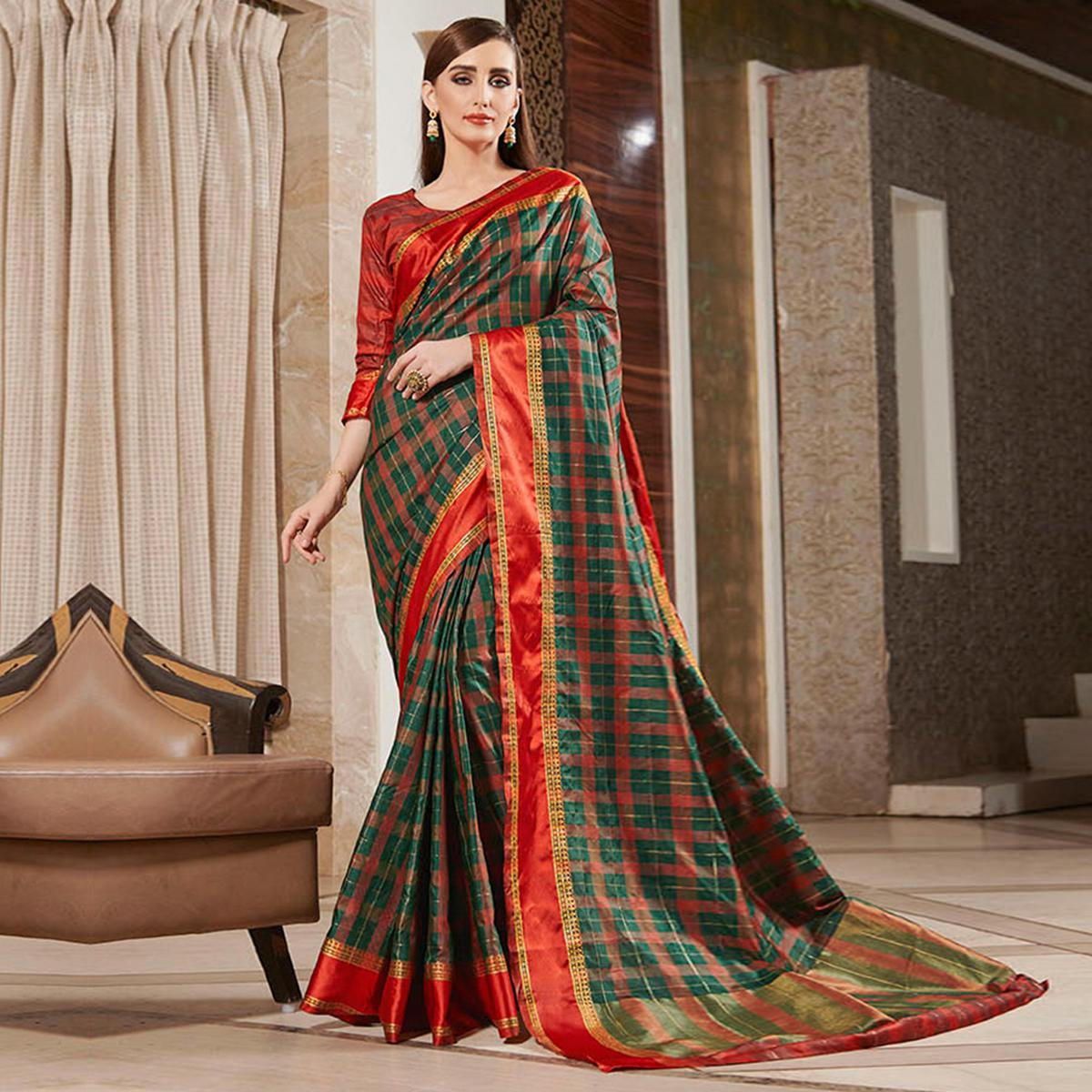 Innovative Turquoise Green Colored Festive Wear Woven Silk Saree