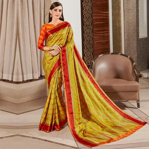 Eye-catching Lemon Green Colored Festive Wear Woven Silk Saree